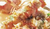Brochettes de langoustines et de lotte au saumon fumé sauce au whisky