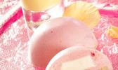 Dôme de mousse framboise coeur de panna cotta et crème à la rose