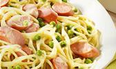 Spaghetti aux knacki, façon carbonara