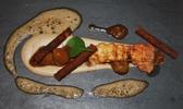 Belle langoustine mi-cuite, crème onctueuse à la châtaigne et mouillettes au pain d'épices