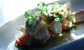 Belles langoustines rôties à la bergamote, légumes croquants et palette ibérique
