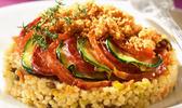 Tian de courgettes & méli mélo gourmand au chorizo