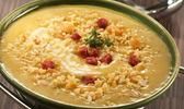 Velouté de patate douce aux céréales gourmandes et chorizo