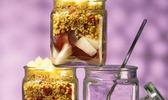 Verrine de poire, céréales méditerranéennes et fromage de montagne