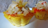 Clafoutis salé poivrons-tempeh et chutney de tomates vertes