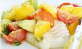 Dos de cabillaud et sa salade mangue avocat et basilic