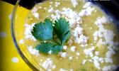 Velouté froid de tomates jaunes, ananas et fêta