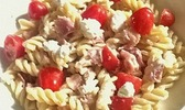 Pâtes au jambon cru, ricotta et tomates cerises