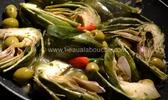 Artichaut au vin blanc et olives