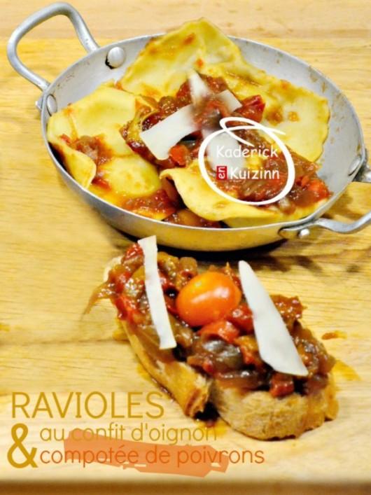 raviolis ou raviole de p 226 te fraiche au confit d oignon et poivron ou 3 fromages par kaderick