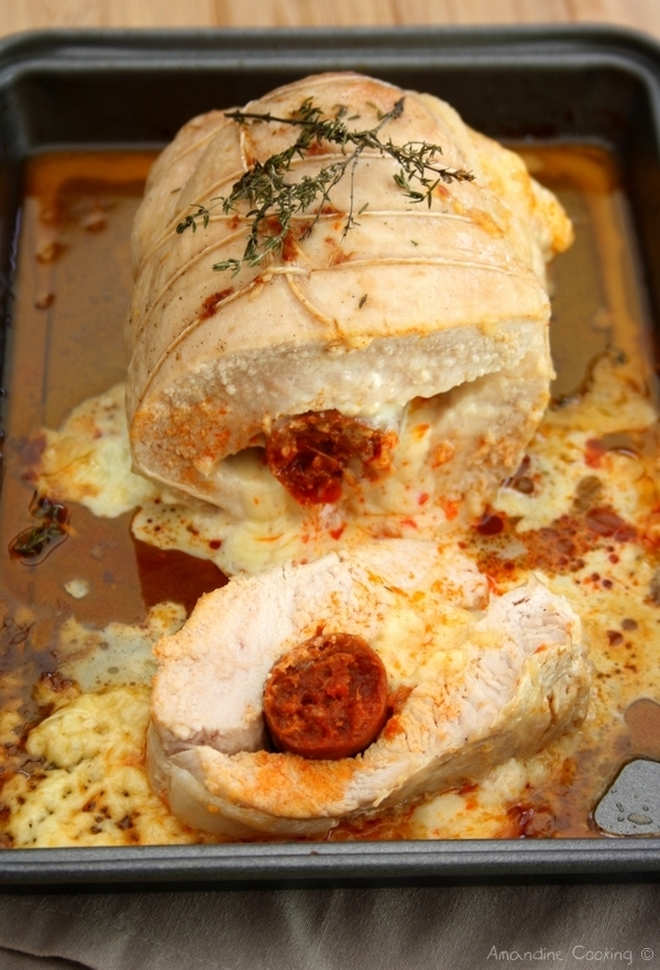 R ti de dinde farci au fromage et chorizo par amandine cooking - Cuisiner un roti de dinde ...