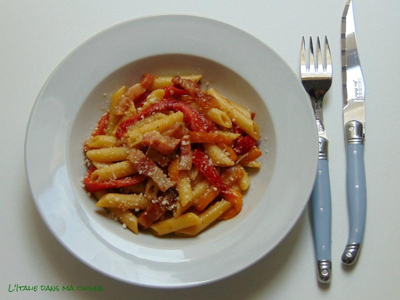 p 226 tes aux poivrons et au guanciale par l italie dans ma cuisine