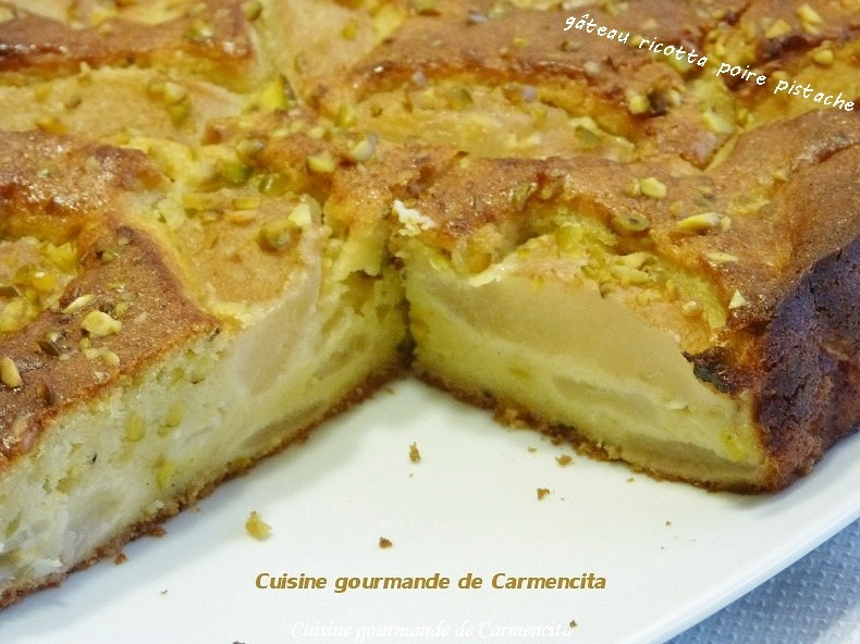 recettes de pistache par carmen g teau ricotta poire et pistache cheesecake aux pommes. Black Bedroom Furniture Sets. Home Design Ideas
