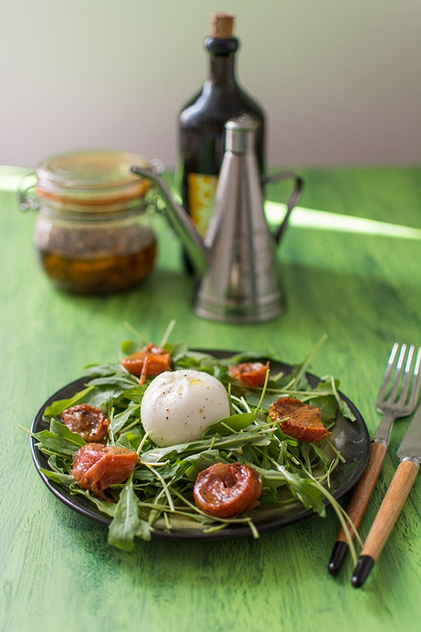 Salade roquette tomates s ch es burrata par stella cuisine - Cuisiner les tomates sechees ...