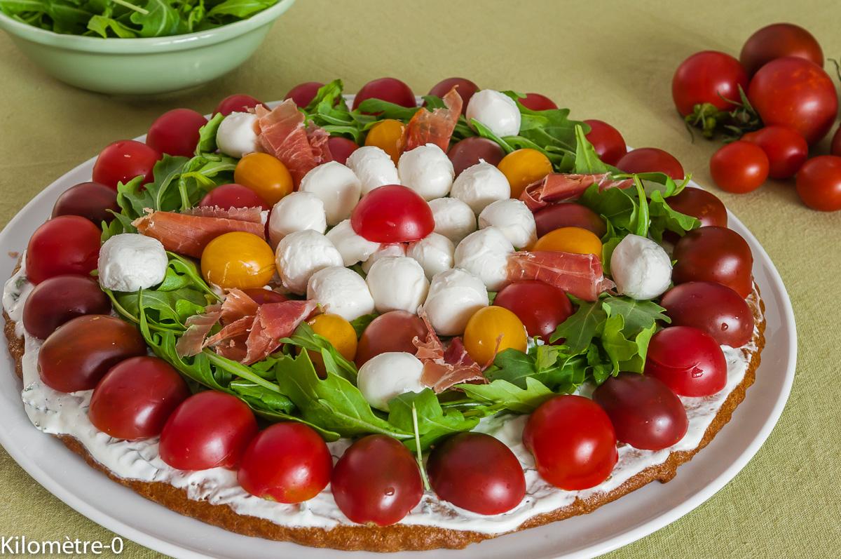 tarte sal e aux tomates cerises mozzarella et roquette par kilometre 0. Black Bedroom Furniture Sets. Home Design Ideas