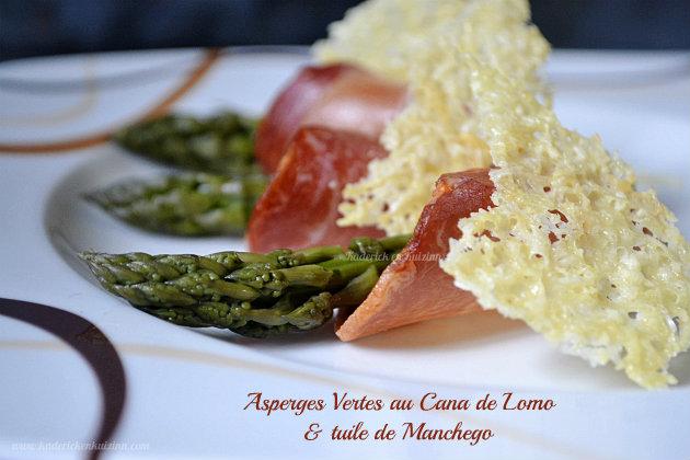 Asperges vertes bio au lomo et tuile de manchego par kaderick - Cuisiner les asperges vertes fraiches ...