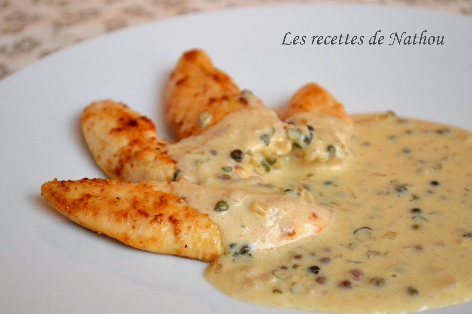 Aiguillettes de poulet sauce au poivre vert par les recettes de nathou - Cuisiner le poulet en sauce ...