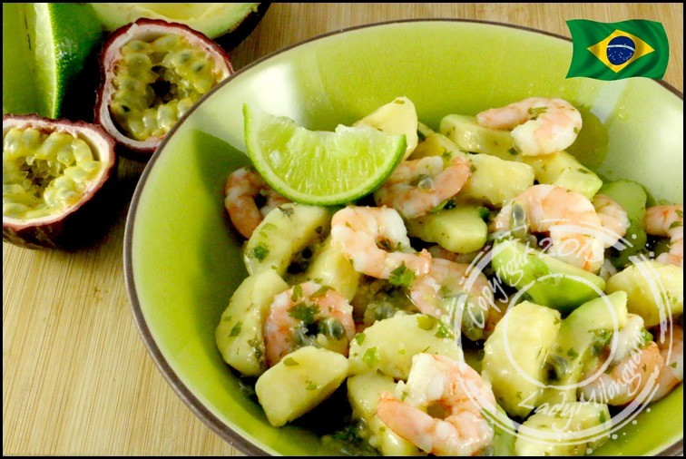 salade de crevettes avocat fruits de la passion et banane par ladymilonguera. Black Bedroom Furniture Sets. Home Design Ideas