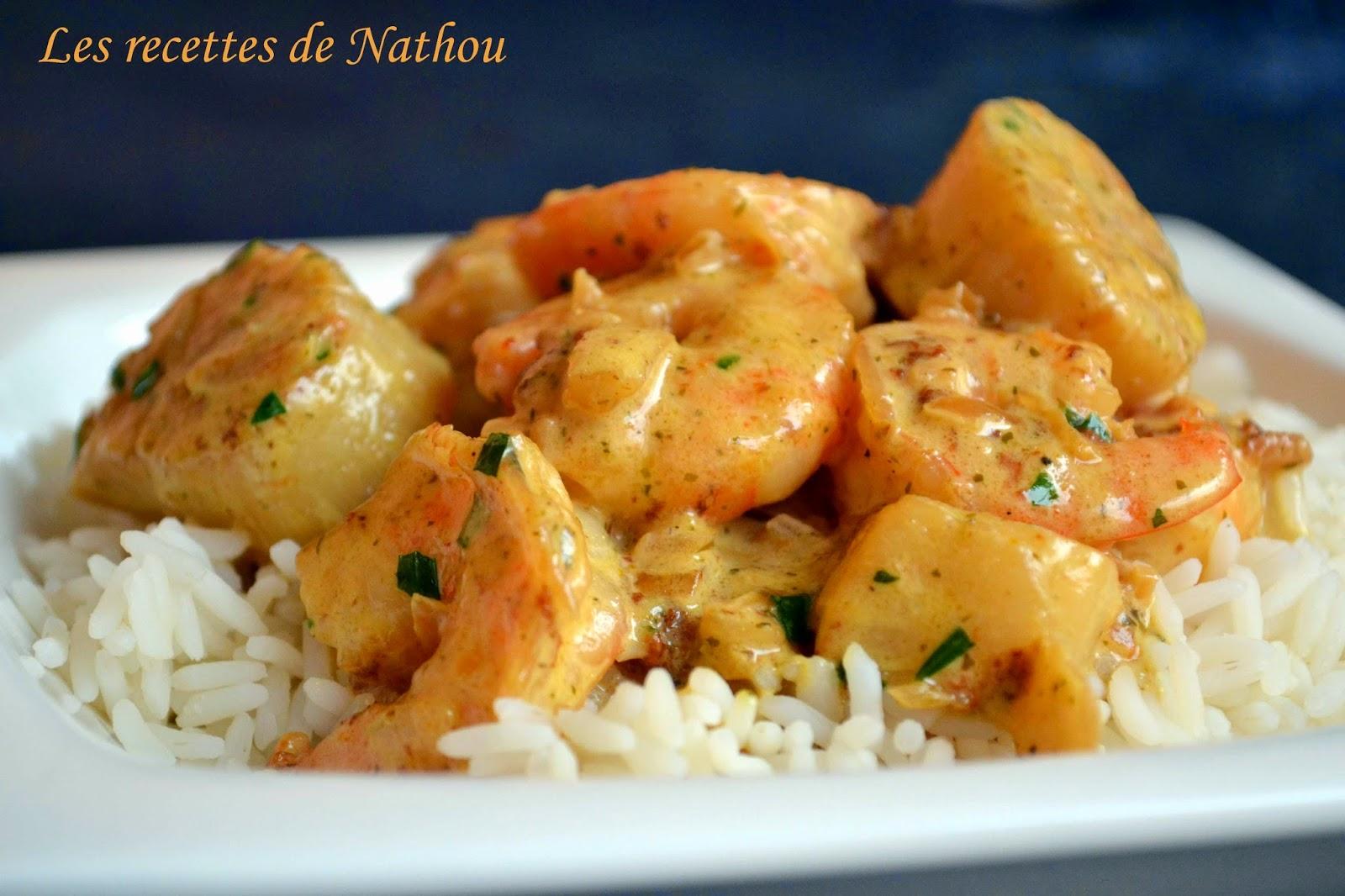 Riz au gambas et saint jacques sauce curry et estragon - Saint jacques au curry ...