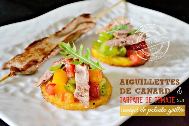 Toast canard la plancha trio de tomate et polenta par kaderick - Cuisiner les aiguillettes de canard ...