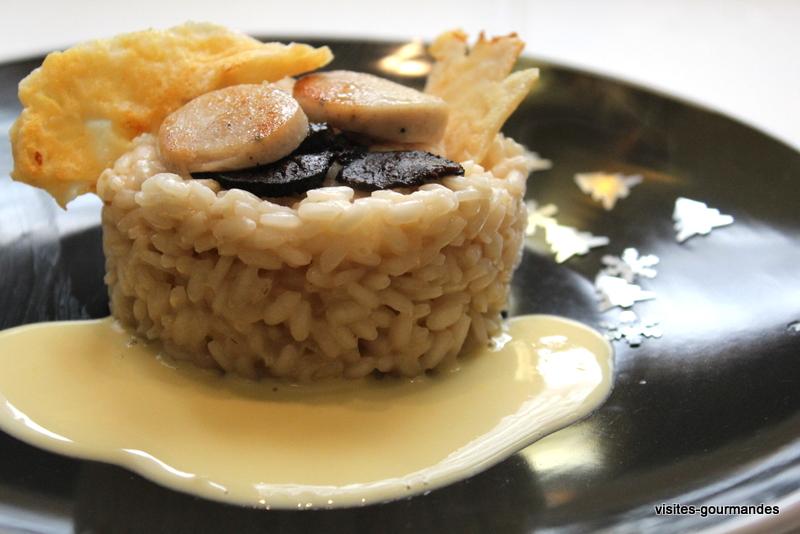 Risotto de f tes au boudin blanc truffe et champagne une for Entree chaude original