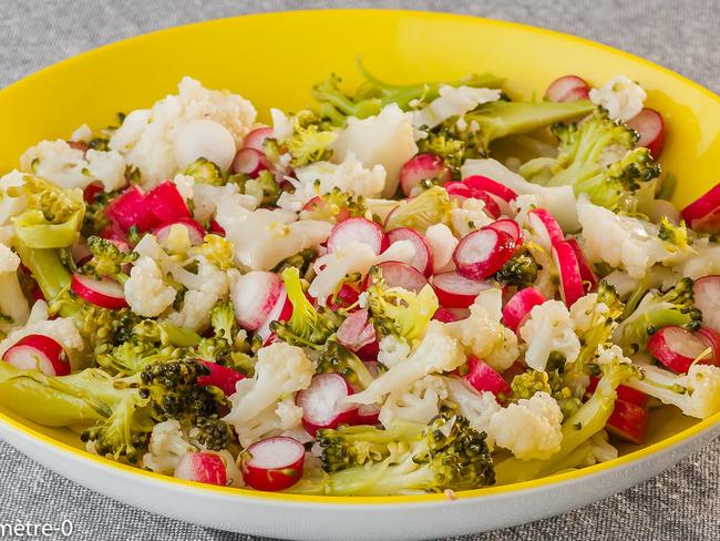 Salade de brocolis, chou fleur et radis - Recette par kilometre-0