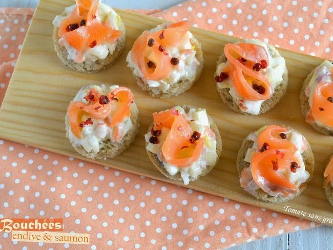 bouch es ap ritives endive et saumon fum recette par tomate sans graines. Black Bedroom Furniture Sets. Home Design Ideas