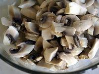 Champignons cuits à blanc