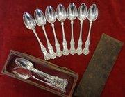 12 antique scottish silver teapsoons, glasgow.