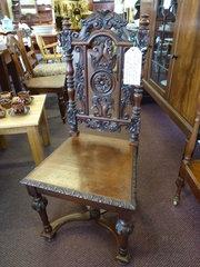 19th century oak hall chair