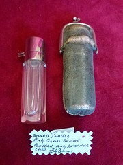 antique silverplated glass scent bottle