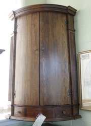 antique oak bow fronted corner cupboard