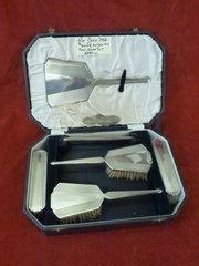 art deco silver brush set