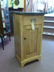 antique bedside cabinet with marble top