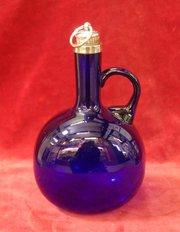 bristol blue 19thc spirit decanter + silver collar