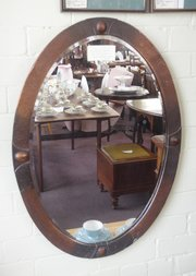 edwardian copper hammered oval bevel edged mirror