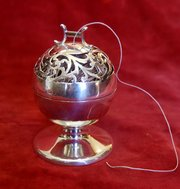 edwardian silver string ball holder
