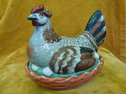 antique victorian staffordshire hen on nest