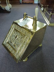 late victorian brass coal box