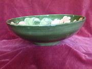 moorcroft green hibsicus footed bowl