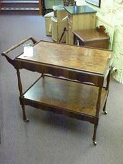 walnut veneered tea trolley