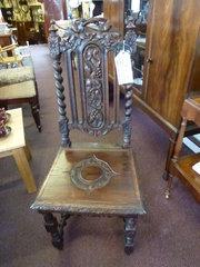 victorian oak high back chair