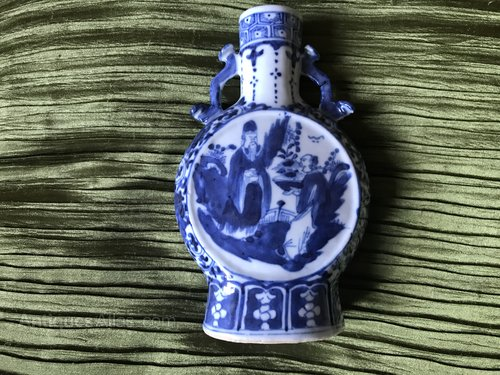 19th Century Chinese Blue and White Flask