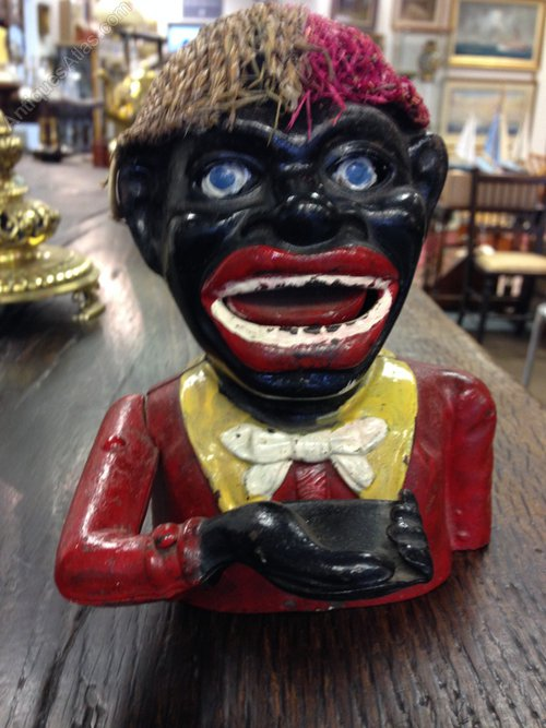 Cast Iron 'Jolly Nigger'  Money Box with hat