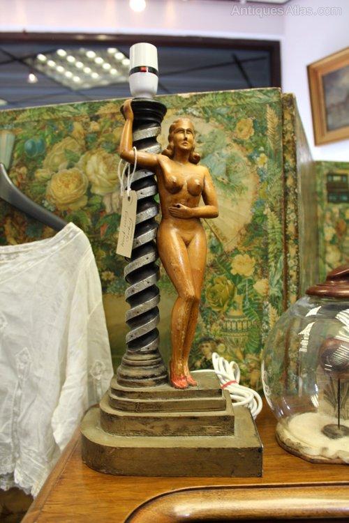 Extraordinary WW2 Prisoner of War Art Lady Lamp