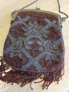 Fabulous 1920's bead and cut metal evening bag