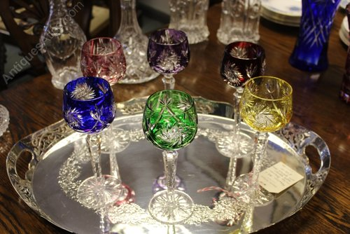 Set of Six Fabulous Bohemian Hock Crystal Glasses