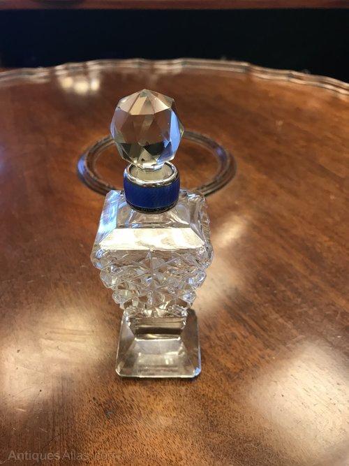 Silver & enamel cut glass scent bottle by