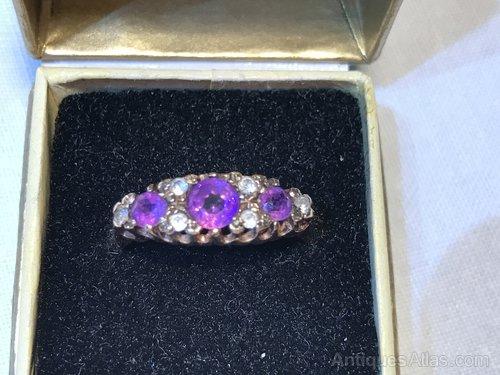 Vintage Amethyst & Diamond Ring