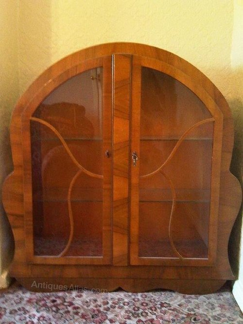 Vintage Art Deco Walnut Veneered Display Cabinet